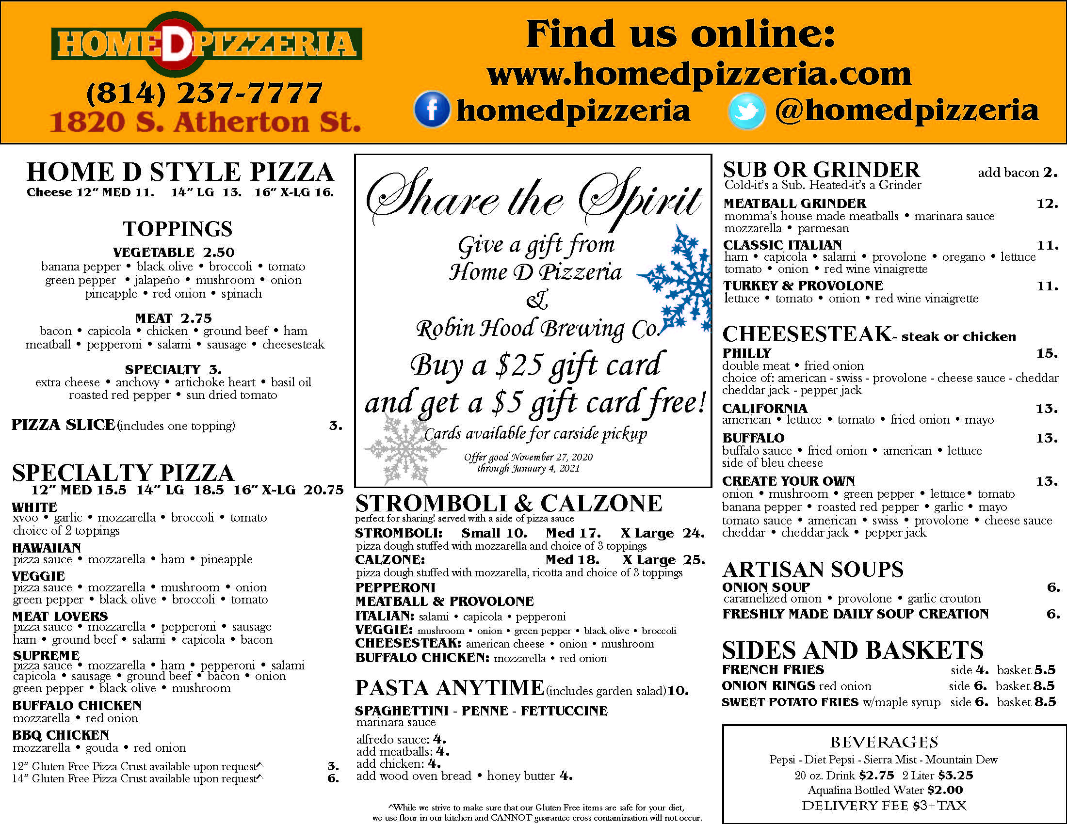 Takeout & Delivery Menu - 2nd Page